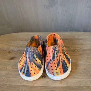 Native size 7 orange tie dye slip on shoes